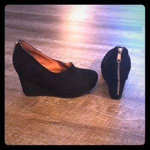 Jeffrey Campbell suede Cove zipper wedge  heels
